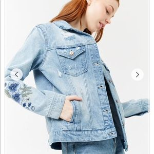 Forever 21 Distressed Embroidered Denim Jacket